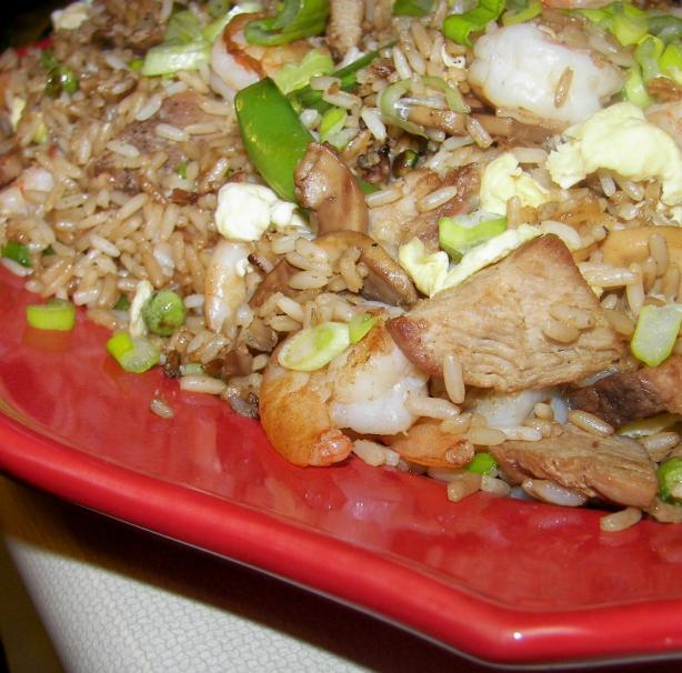 Fried Rice With Shrimp, Pork, Shiitake Mushrooms. Photo by Baby Kato