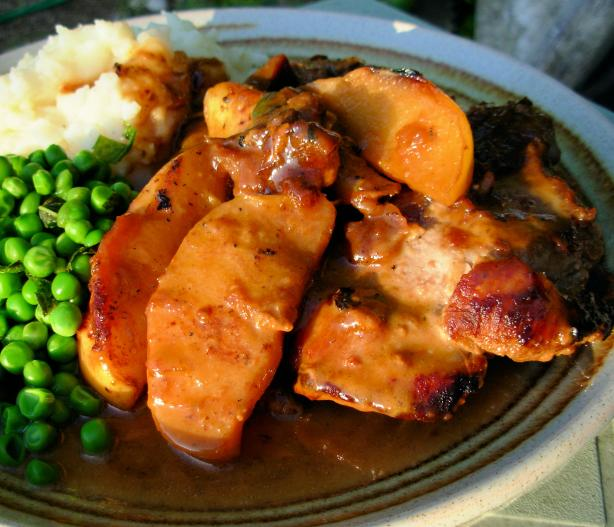 Pan Fried Pork Chops With Glazed Apples, Cider and Cream Sauce. Photo ...