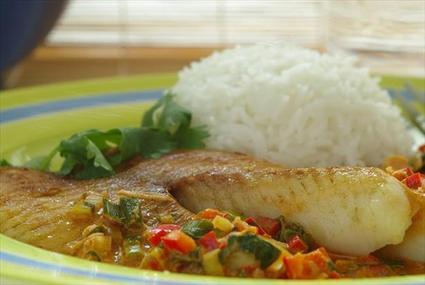 Broiled Tilapia With Thai Coconut- Curry Sauce. Photo by Thorsten