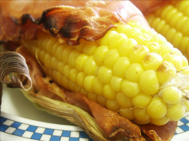Bacon Wrapped Grilled Corn on the Cob. Photo by kiwidutch