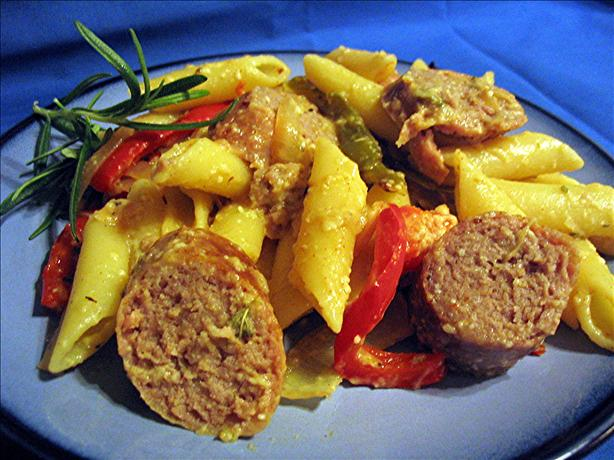 Pasta With Sausage, Tomatoes And Roasted Peppers Recipe — Dishmaps