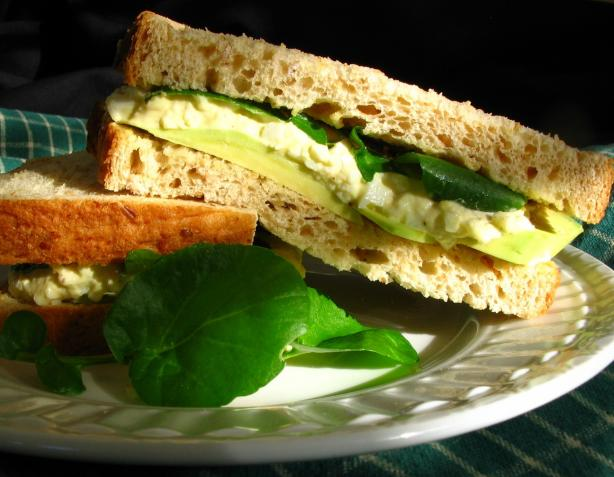 Egg Salad Sandwich With Avocado and Watercress. Photo by Breezytoo