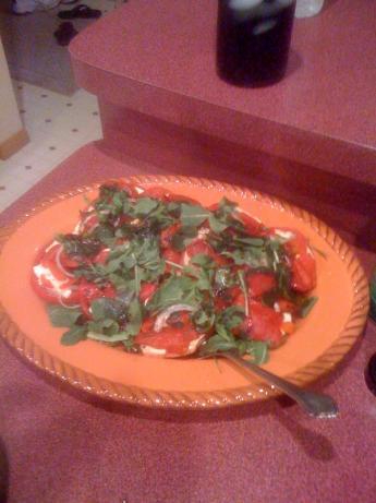 Tomato And Fresh Mozzarella Salad With Arugula And Peppers Recipe ...