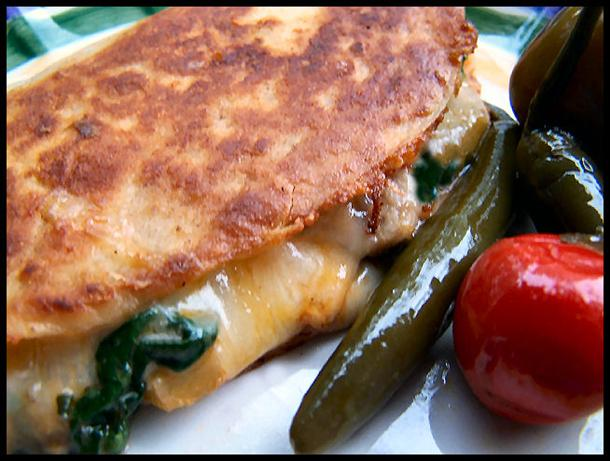 Spinach and Mushroom Quesadillas. Photo by NcMysteryShopper
