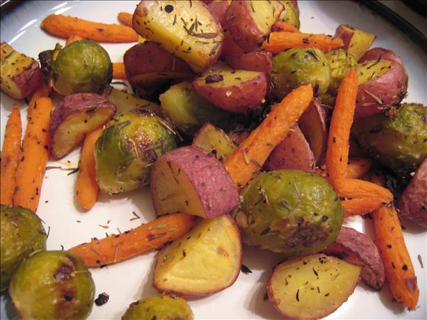 Thyme and Garlic Roasted Potatoes, Brussels Sprouts and Carrots. Photo ...