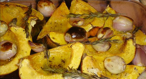 Roasted Acorn Squash With Shallots and Rosemary. Photo by Carianne