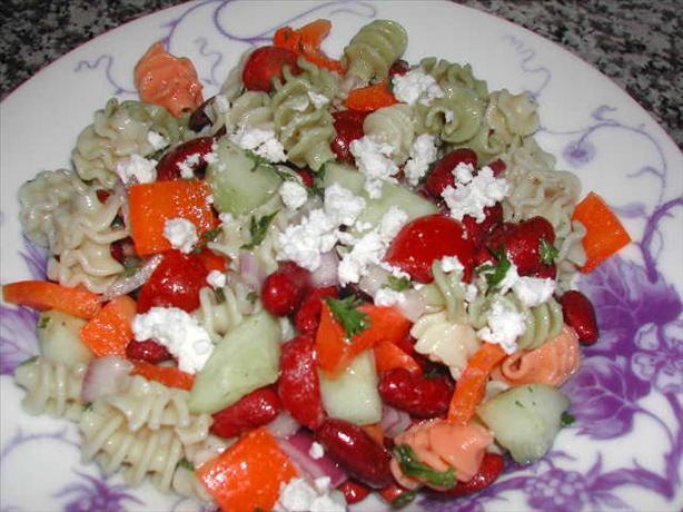 Garden Greek Pasta Salad. Photo by Kumquat the Cat's friend