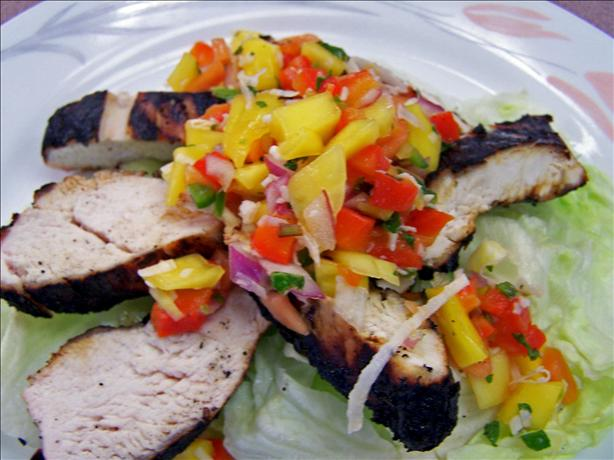 Coriander Chicken With Mango Salsa Recipe — Dishmaps