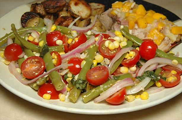 Green Bean Salad With Corn, Cherry Tomatoes And Basil Recipe - Food ...