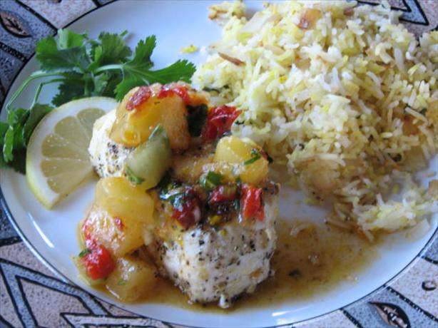 Grilled Halibut With Pineapple Chipotle Salsa. Photo by Galley Wench
