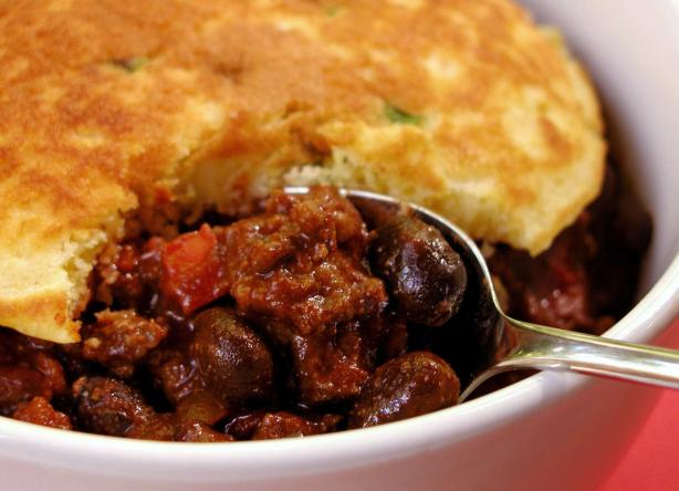 Beef And Black Bean Chili With Green Onion Corn Cakes Recipe - Food ...