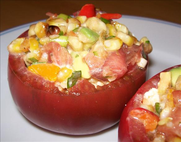 Stuffed Tomatoes With Grilled Corn Salad easy fast recipe