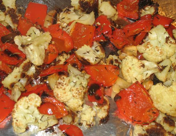 Roasted Cauliflower With Garlic And Red Peppers Recipe - Food.com