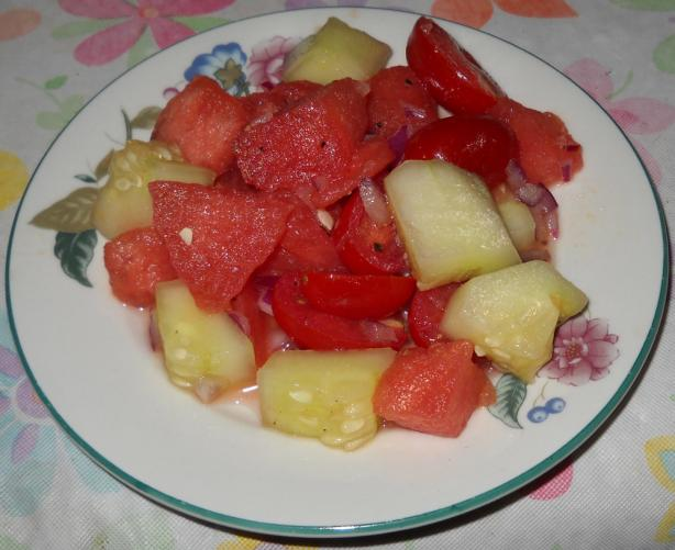 Watermelon, Cherry Tomato, Red Onion and Cucumber Salad. Photo by ...