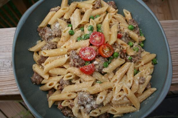 Penne With Sausage, Peas and Mascarpone. Photo by Kitchen Witch Steph