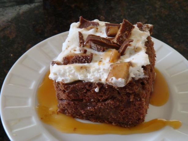 Chocolate Caramel Heath Bar Cake