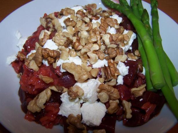 Beet Risotto With Goat Cheese and Walnuts. Photo by Moor Driver