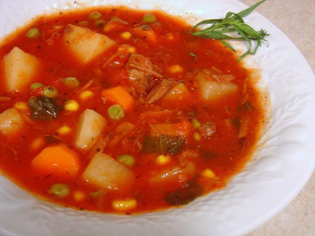 Crock Pot Vegetable Beef Soup. Photo by Sue Lau