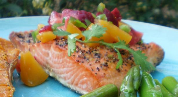 Salmon or Halibut With Fruit Salsa. Photo by breezermom