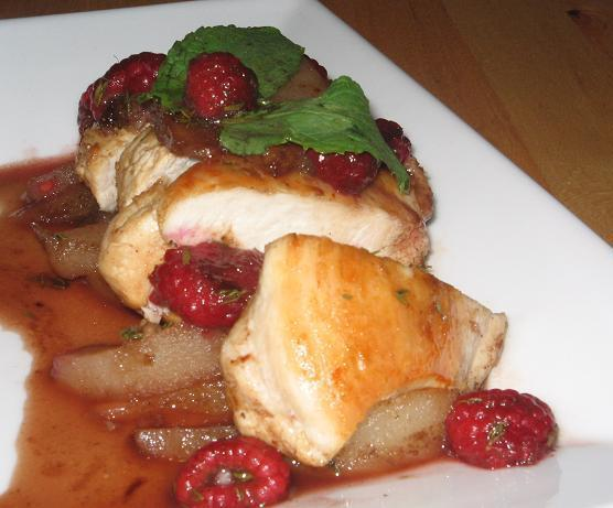Low Fat Chicken Medallions With Cinnamon Raspberry Pear Sauce. Photo ...