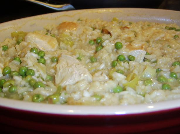 Baked Chicken, Lemon and Pea Risotto. Photo by LifeIsGood