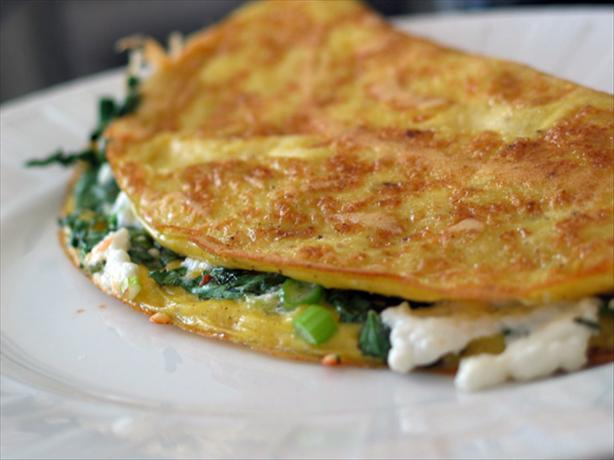 Omelette W/Goat Cheese, Green Onions & Cilantro. Photo by kelly in TO