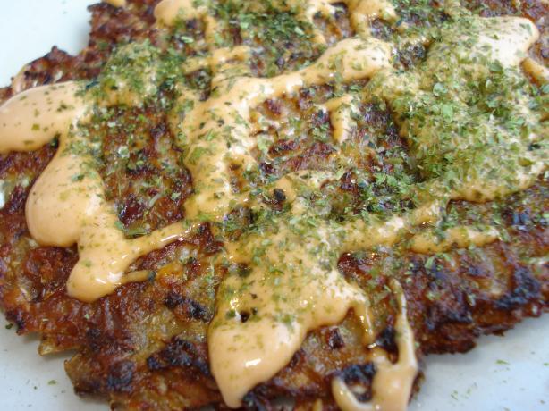 Japanese Vegetable Pancakes (Okonomiyaki). Photo by C. Taylor