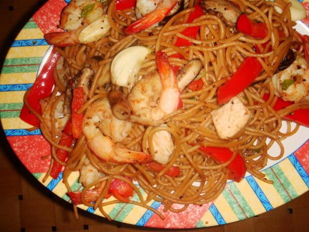 Ginger Chicken And Shrimp Stir-Fry With Sesame Noodles Recipe - Food ...