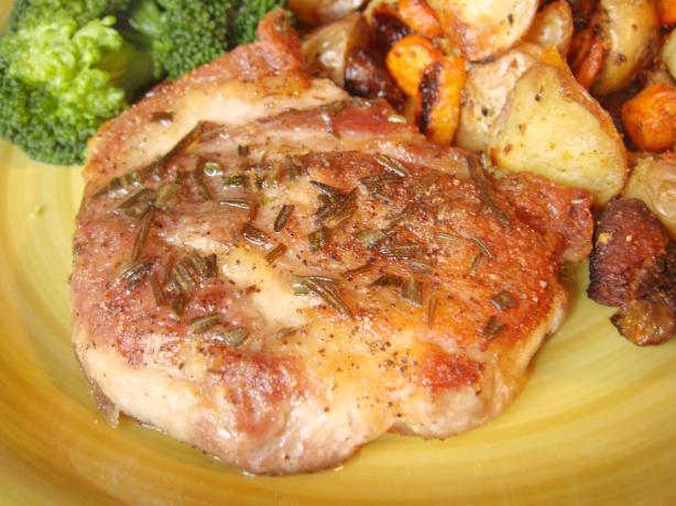Pan-Seared Pork Chops W/ Rosemary. Photo by Lori Mama