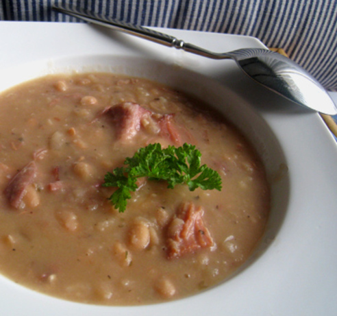 Chunky Navy Bean Soup. Photo by Caroline Cooks