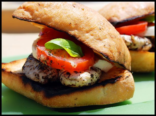 Grilled Chicken Sandwiches With Mozzarella, Tomato and Basil. Photo by ...