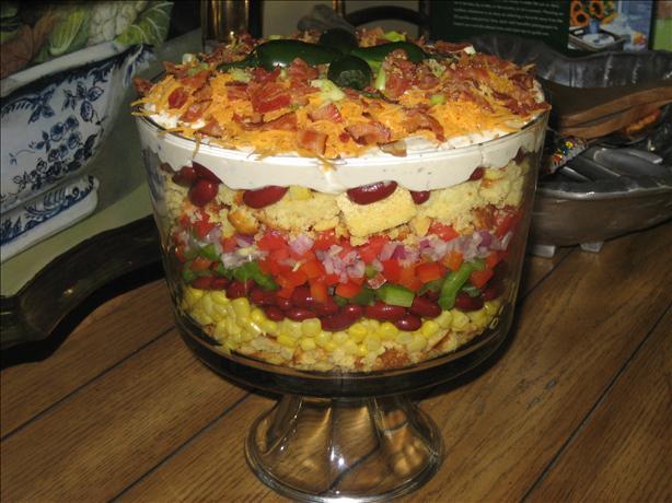 Southwestern Cornbread Layered Salad. Photo by Leopard Apron