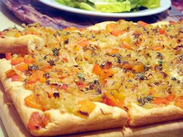 Caramelized Onion and Roasted Red Pepper Tart. Photo by Lori Mama