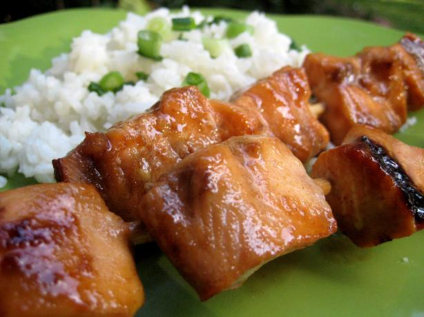 Soy Glazed Salmon Kabobs. Photo by gailanng