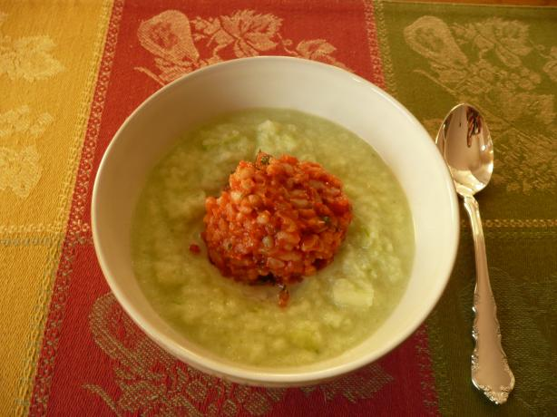 Chilled Cucumber-Yogurt Soup With Bulgur Timbales Recipe - Food.com
