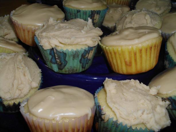 Vanilla Cupcakes W/ Yummy Penuche Glaze. Photo by vivmom