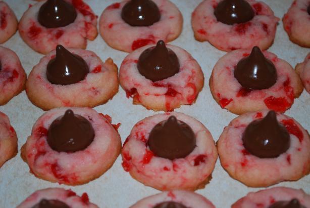 Chocolate Cherry Cordial Thumbprint Cookies Recipe — Dishmaps