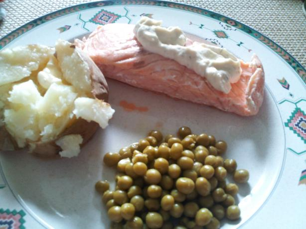 Simple and Healthy Poached Salmon. Photo by sheepdoc