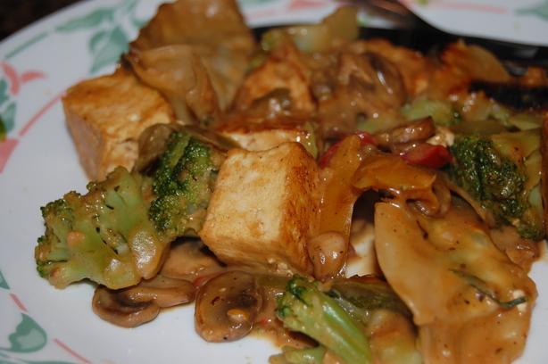 Spicy Stir Fry Tofu With Peanut Sauce W Snow Peas And Mushrooms Recipe ...