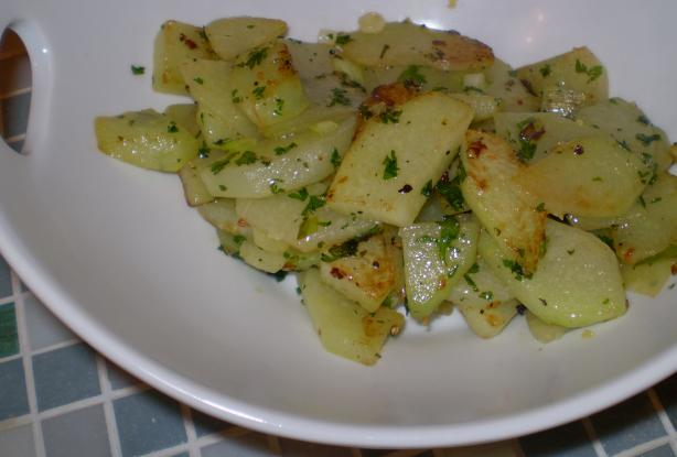 sauteed chayote with garlic and herbs recipe. Black Bedroom Furniture Sets. Home Design Ideas