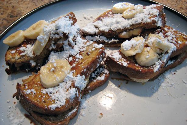 Chocolate Peanut Butter Banana Stuffed French Toast Recipe ...
