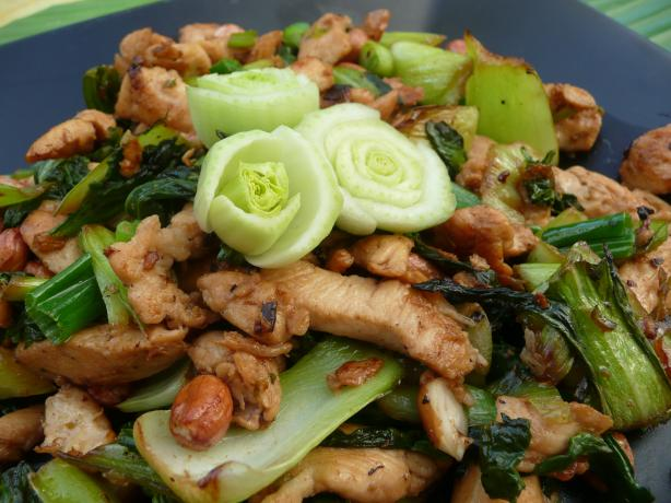 Spicy Stir Fried Chicken With Greens And Peanuts Recipe ...