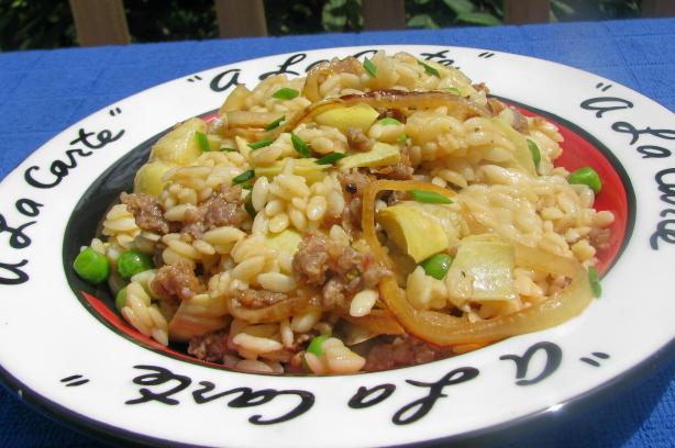 Orzo Risotto With Sausage And Artichokes Recipe - Food.com