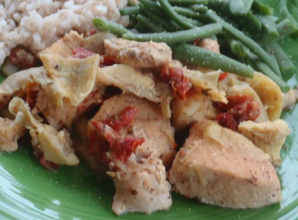 Greek chicken with artichokes