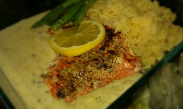 Hazelnut Crusted Salmon. Photo by threeovens