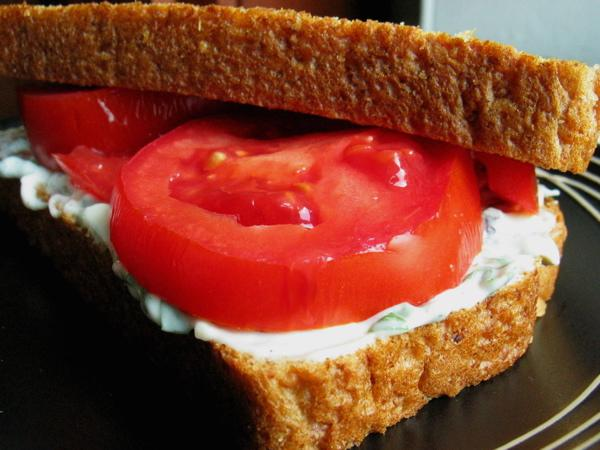Heirloom Tomato Sandwich With Basil Mayo. Photo by flower7
