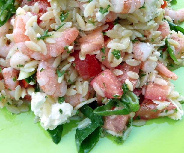 Shrimp, Feta, and Orzo Salad. Photo by Stardustannie