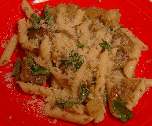 Roasted Eggplant and Garlic With Pasta. Photo by Sue Lau