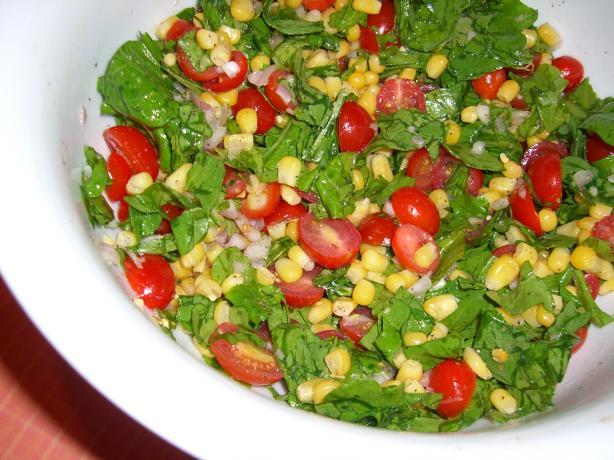 Arugula, Fresh Corn and Tomato Salad. Photo by Chef*Lee