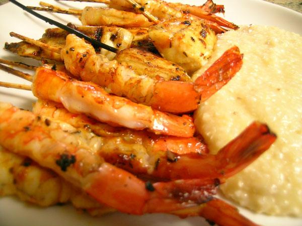 Barbecued Bourbon Shrimp With Cheddar Cheese Grits Recipe - Soul.Food ...